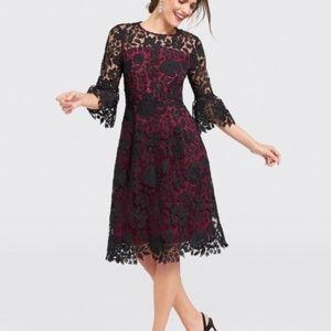 Draper James black red Rosslyn midi lace dress